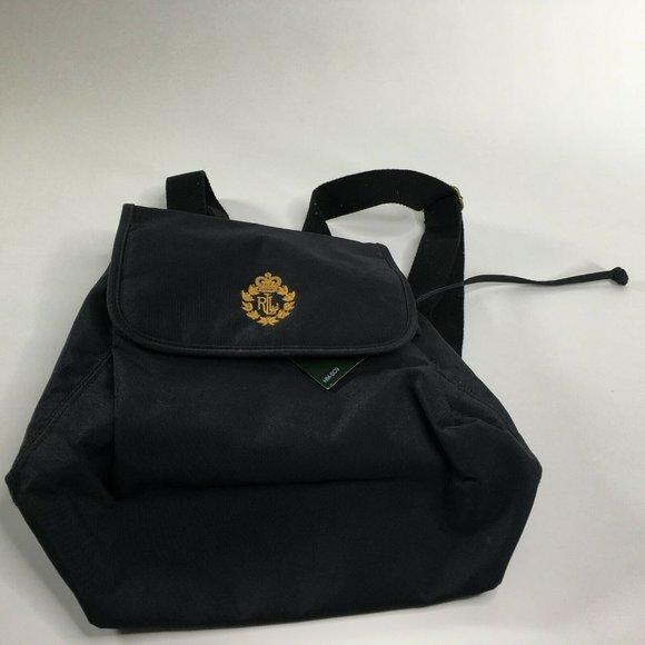Lauren Ralph Lauren Black Drawstring Backpack